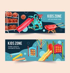 Playground banner design with basketballs cart vector