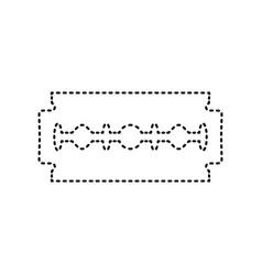 razor blade sign black dashed icon on vector image