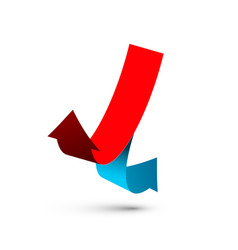 red and blue arrows paper double arrow symbol for vector image