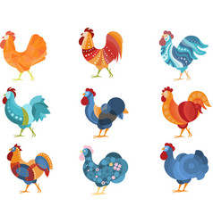 Rooster similar drawings set colored in different vector