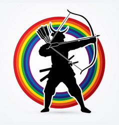 samurai warrior with bow bowman archer fighter vector image