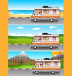 Scenes with children riding on camper van vector