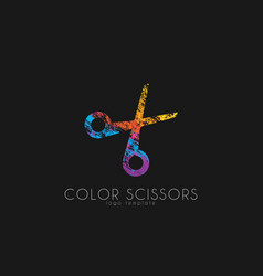 Scissors logo Color scissors logo design vector image