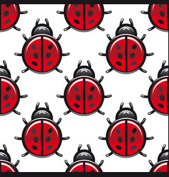 Seamless pattern of a red spotted ladybug vector image