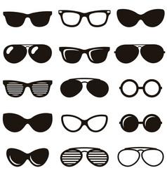 Set black retro sunglasses icons vector