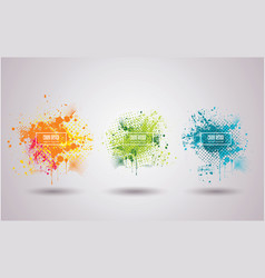 set bright ink blots with frame and place vector image