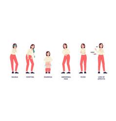 Set flat female characters vector