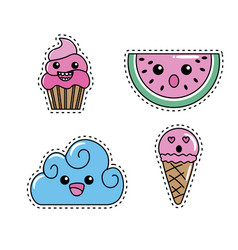 Set kawaii cute tender design vector