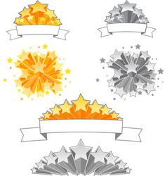 Set of 3D Stars with Ribbons vector
