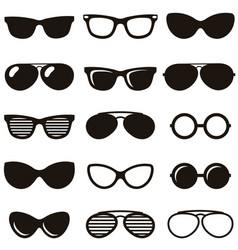 Set of black retro sunglasses icons vector
