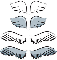 set of cartoon wings vector image