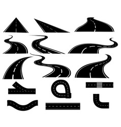 set roads collection tracks black white road vector image