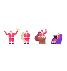 set santa claus festive activities fantasy vector image