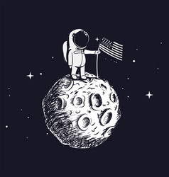 space walk on lunar surface vector image