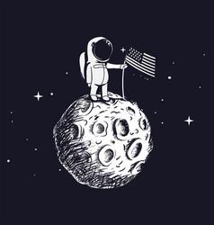 Space walk on lunar surface vector