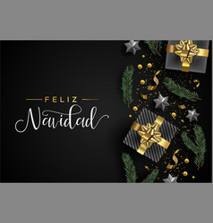 spanish christmas card gift and holiday objects vector image