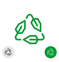 tech recycle symbol line style logo ecological vector image