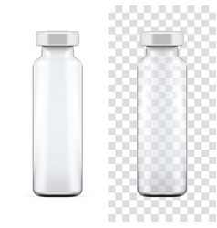 Template transparent glass medical ampoule vector