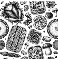 Thanksgiving day table seamless pattern roasted vector