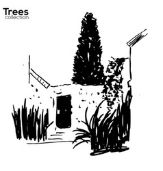 Trees collection ink old wall and plants vector