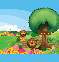 Two lions in garden with a wooden signboard vector