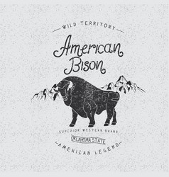 Vintage trademark with american bison vector image