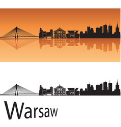 Warsaw skyline in orange background vector image