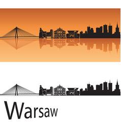Warsaw skyline in orange background vector