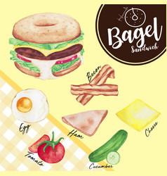 Watercolor beef burger in a bagel vector
