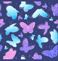 Watercolor Vintage butterfly seamless pattern vector image