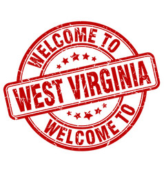 Welcome to west virginia red round vintage stamp vector