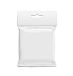White realistic polyethylene bag with hang slot vector