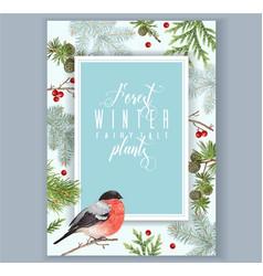 Winter bullfinch a 4 banner vector