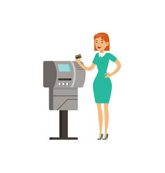 Woman using payment terminal with credit card vector