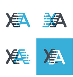 Xa letters logo with accent speed soft blue and vector