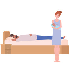 Young couple in bed with a newborn baby vector