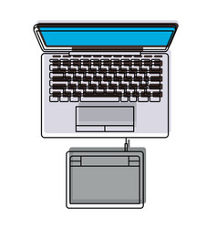 desktop computer and digitizer tablet connection vector image vector image