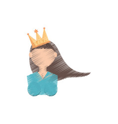 drawing head girl with crown celebration party vector image