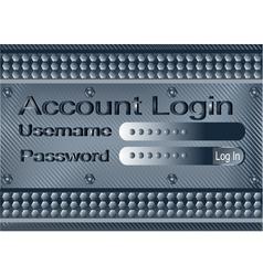 login form on metal plate vector image