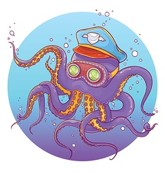 Octopus wearing captain hat and goggles vector