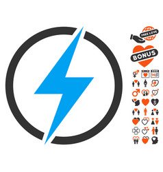 electricity icon with love bonus vector image vector image