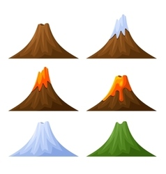 Mountain with Volcano Forest and Snow Set vector image