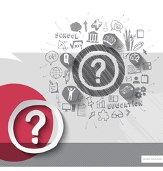 Paper and hand drawn question mark emblem with vector image