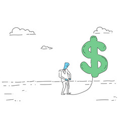 Rich business man hold dollar sign money growth vector