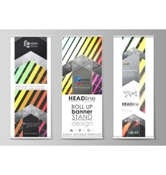 Roll up banner stands geometric style templates vector image vector image
