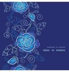 blue night flowers vertical frame seamless pattern vector image