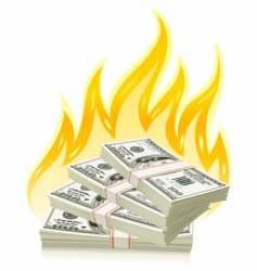burning money vector image vector image