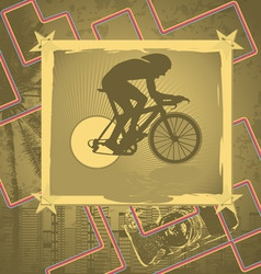 cyclist vintage frame vector image vector image