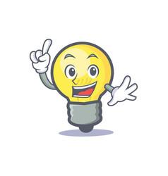 Finger light bulb character cartoon vector