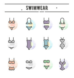 set of swimwear icons in thin line style vector image vector image